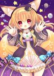 1girl :d animal_ears black_hat blonde_hair blue_bow blush bow candy dress flower_knight_girl food fox_ears fox_tail frills ghost hair_bow hairband halloween hane. hat hoop_skirt kitsune_no_botan_(flower_knight_girl) lollipop long_hair looking_at_viewer mini_hat mini_top_hat multiple_tails open_mouth outstretched_hand purple_bow red_eyes smile solo swirl_lollipop tail top_hat white_dress yellow_hairband
