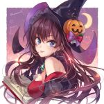 1girl ahoge bangs bare_shoulders black_gloves blue_eyes blush book border bow breasts brown_hair crescent_moon dress gloves hagiwara_rin hair_between_eyes halloween halloween_costume hat ichinose_shiki idolmaster idolmaster_cinderella_girls jack-o'-lantern_ornament jewelry long_hair looking_at_viewer looking_to_the_side medium_breasts moon open_book pendant puffy_sleeves red_dress smile solo star starry_background tongue tongue_out white_border witch witch_hat
