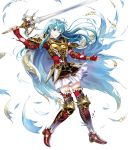 1girl armor bangs breastplate cape eirika fire_emblem fire_emblem:_seima_no_kouseki fire_emblem_heroes full_body gloves highres long_hair mayachise nintendo official_art short_sleeves shoulder_pads skirt solo thigh-highs transparent_background zettai_ryouiki