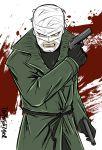 1boy artist_name bandage batman_(series) coat dc_comics gloves gun hush_(batman) male_focus solo teeth weapon white_background