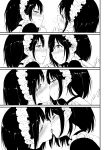 2girls 4koma absurdres black_hair blush choker closed_eyes comic crying eye_contact face-to-face french_kiss frills half-closed_eyes heavy_breathing highres kiss kyokucho looking_at_another maid maid_headdress multiple_girls open_mouth parted_lips sad short_hair sweatdrop tearing_up tears textless tongue tongue_out yuri