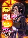 1boy 2018 bat black_hair book braid chain chains cross cross_necklace cross_print fire gloves glowing gold_chain greek_cross happy_halloween holding holding_book holding_pumpkin jack-o'-lantern jewelry khamsin_nbh'w latin_cross long_hair long_sleeves looking_at_viewer looking_to_the_side male_focus monocle necklace parted_lips pumpkin robe scar shakugan_no_shana short_over_long_sleeves short_sleeves silhouette single_braid solo tachitsu_teto white_gloves yellow_eyes