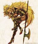 1girl armor blonde_hair breasts cleavage commentary_request dark_skin forehead_jewel leotard lion_princess long_hair nekobayashi saga saga_frontier solo thigh-highs weapon