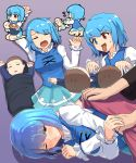 1girl 3boys ;) baby baby_bottle barefoot blanket blue_eyes blue_hair blue_skirt blue_vest bottle breasts closed_mouth covering diaper drooling feeding flying_sweatdrops gradient gradient_background hand_holding heterochromia highres juliet_sleeves long_sleeves lying medium_breasts miniskirt multiple_boys multiple_views on_back on_side one_eye_closed open_mouth puffy_sleeves purple_background red_eyes seiza shirt sitting skirt skirt_set smile sweatdrop tada_no_nasu tatara_kogasa tongue tongue_out touhou vest white_shirt zzz
