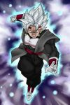 a_silvers_1997 abs absurdres ankle_cuffs aura baby_(dragon_ball) belt blue_background blue_belt boots charging chest_plate clenched_hand commentary dougi dragon_ball dragon_ball_gt dragon_ball_super earrings english_commentary floating_clothes fusion gloves gokuu_black highres jewelry looking_at_viewer multicolored multicolored_background open_mouth photo-referenced possessed potara_earrings purple_background red_eyes saiyan spiky_hair vegeta vegetto what_if white_footwear white_gloves white_hair wrist_guards