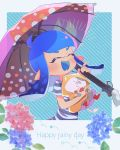1girl :d animal artist_name bangs blue_background blue_hair blue_tongue blunt_bangs blush cat closed_eyes commentary diagonal-striped_background diagonal_stripes domino_mask english fangs flower grey_shirt holding holding_animal holding_umbrella inkling kitten kojajji-kun_(splatoon) long_hair mask nintendo notice_lines open_mouth outside_border pink_umbrella rain shirt short_sleeves signature smile solo splatoon splatoon_2 standing star striped striped_background striped_shirt t-shirt tentacle_hair ueda_kou umbrella upper_body