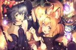 2girls :d absurdres animal_ears_(artist) bat_wings bell black_hair blonde_hair bow bowl broom candle cape claw_pose commentary eyebrows_visible_through_hair fire flame food green_eyes halloween halloween_costume hat hat_bow head_wings highres huge_filesize jack-o'-lantern japari_bun jingle_bell kaban_(kemono_friends) kemono_friends lens_flare looking_at_viewer lucky_beast_(kemono_friends) multiple_girls open_mouth robe serval_(kemono_friends) short_hair smile wings witch_hat yellow_eyes