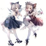 2girls absurdres adapted_costume bangs black_footwear blonde_hair blue_bow blue_dress blue_eyes bow brooch buttons cirno commentary_request corset crystal dress ears flandre_scarlet food frills fruit full_body grin hair_bow hands_up hat hat_ribbon high_heels highres hito_komoru holding holding_fruit ice ice_wings jewelry lolita_fashion looking_at_viewer miniskirt mob_cap multiple_girls one_side_up pantyhose petticoat red_eyes red_ribbon red_skirt ribbon shirt shoes short_hair short_sleeves silver_hair simple_background skirt skirt_set smile teeth touhou white_background white_hat white_legwear white_shirt wings wrist_cuffs