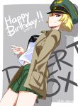 1girl annotated background_text black_bow blonde_hair bow brown_eyes brown_jacket closed_mouth commentary cowboy_shot da-dang dated english erwin_(girls_und_panzer) from_side girls_und_panzer goggles goggles_on_headwear green_hat grey_background happy_birthday hat highres jacket long_sleeves looking_at_viewer military_hat military_jacket ooarai_school_uniform open_clothes open_jacket outline outside_border peaked_cap pointy_hair shadow short_hair smile solo standing twitter_username v white_outline