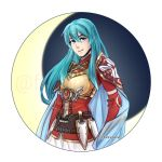 1girl aqua_hair armor breastplate cape eirika fire_emblem fire_emblem:_seima_no_kouseki fire_emblem_heroes flamingo_(eme324) highres long_hair looking_at_viewer nintendo skirt smile solo