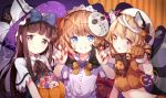 3girls absurdres animal_ears bangs basket black_hat blonde_hair blue_bow blue_eyes blunt_bangs bow bowtie brown_eyes brown_gloves brown_hair brown_neckwear candy capelet cat_ears cat_tail claw_pose closed_mouth eyebrows_visible_through_hair fairy_wings fangs fingernails food gloves grin hair_bow halloween halloween_costume hat highres hockey_mask jewelry kemonomimi_mode light_smile lollipop long_fingernails long_hair looking_at_viewer luna_child multiple_girls multiple_tails nail_polish orange_hair pumpkin red_eyes red_nails risui_(suzu_rks) sharp_fingernails single_earring smile spider_web_print star_sapphire sunny_milk tail teeth tombstone touhou two_tails upper_body white_capelet wings witch_hat