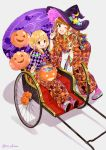 2girls :d ;d \n/ ahoge balloon bangs black_hat blonde_hair blush brown_eyes brown_hair candy checkered checkered_kimono commentary_request crescent crescent_moon_pin double_\n/ earrings egasumi eyebrows_visible_through_hair food food_themed_hair_ornament full_body futaba_anzu geta grey_background hair_ornament halloween hat hat_ornament holding holding_wand idolmaster idolmaster_cinderella_girls japanese_clothes jewelry kimono leaning_forward long_hair long_sleeves looking_at_viewer low_twintails miyabi_akino moroboshi_kirari multiple_girls nail_polish obi one_eye_closed open_mouth orange_kimono oriental_umbrella pink_legwear pink_nails pumpkin rickshaw sash shiny shiny_hair sidelocks simple_background sitting smile standing star striped striped_hat striped_legwear stud_earrings twintails umbrella unmoving_pattern wand wavy_hair witch witch_hat