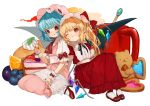 2girls ;t adapted_costume almond ascot bangs bat_wings bear black_neckwear black_ribbon blonde_hair blue_hair blueberry blush bobby_socks bow commentary cream crystal dress eyebrows_visible_through_hair fang_out flandre_scarlet food frilled_shirt_collar frills fruit gotoh510 grapes hand_holding hand_up handkerchief hat hat_bow head_tilt heart high_heels holding holding_spoon interlocked_fingers knees_up long_dress long_hair looking_at_another mary_janes mob_cap multiple_girls nail_polish neck_ribbon one_eye_closed one_side_up orange pancake parted_lips pink_dress pink_hat pointy_ears puffy_short_sleeves puffy_sleeves red_bow red_dress red_eyes red_footwear red_nails red_neckwear remilia_scarlet ribbon sash shoes short_sleeves siblings sisters sitting smile socks spoon touhou transparent_background wariza white_legwear white_sash wings wrist_cuffs