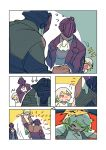 1girl 2boys angry bondrewd comic crying helmet hurt jacket made_in_abyss multicolored_hair multiple_boys prushka red_eyes saiko67 short_hair silent_comic simple_background size_difference