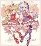 2girls :d aisaki_emiru blonde_hair boots bow bow_by_hair character_name closed_mouth cravat cure_amour cure_macherie curly_hair dress earrings eyelashes floral_background flower frills full_body gloves hair_bow hair_ornament hand_holding highres hugtto!_precure jewelry knee_boots kue_kue_kue long_hair looking_at_viewer magical_girl multiple_girls open_mouth pink_flower pink_rose precure purple_bow purple_dress purple_footwear red_bow red_dress red_eyes red_footwear rose ruru_amour simple_background smile thigh-highs thigh_boots twintails violet_eyes white_background white_flower white_gloves white_hair white_legwear white_rose white_sleeves