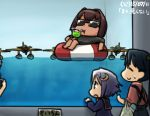 3girls afloat aoba_(kantai_collection) commentary_request drinking drinking_straw e16a_zuiun hamu_koutarou houshou_(kantai_collection) hyuuga_(kantai_collection) innertube kantai_collection multiple_girls seaplane sunglasses tan translated water yayoi_(kantai_collection)