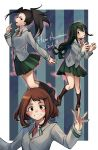3girls asui_tsuyu black_eyes black_hair blush blush_stickers boku_no_hero_academia border brown_eyes brown_hair copyright_name green_hair green_skirt grey_jacket hair_rings highres jacket long_hair multiple_girls necktie pleated_skirt red_neckwear school_uniform short_hair sidelocks skirt striped striped_background tied_hair tongue tongue_out u.a._school_uniform uraraka_ochako white_border yaoyorozu_momo yorktown_cv-5