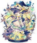 1girl arms_behind_back artist_name bangs black_hat black_ribbon blue_footwear bow bowtie broom dress flower frilled_hat frills full_body gem grey_hair halloween hat hat_bow hat_flower holding holding_broom horns lantern looking_at_viewer mizumori_(xcllcx) neck_bell original pantyhose print_legwear ribbon short_hair solo staff sword weapon white_bow witch witch_hat yellow_eyes yellow_neckwear yellow_ribbon