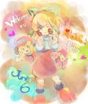 bangs blonde_hair blunt_bangs blush bodysuit bow breasts cabbie_hat child closed_mouth commentary_request dinef dress gloves green_bow green_eyes hair_bow hat helmet high_ponytail jacket leotard long_hair low-tied_long_hair multiple_girls netnavi open_mouth pink_gloves pink_helmet pink_leotard ponytail red_jacket rockman rockman_(classic) rockman_dash rockman_exe roll roll_caskett roll_exe sidelocks smile standing
