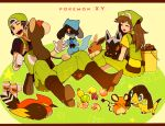 1boy 1girl backwards_hat baseball_cap berry bird black_hair bluk_berry boots brown_hair bucket closed_eyes copyright_name creature creatures_(company) dedenne eevee fangs game_freak gen_1_pokemon gen_3_pokemon gen_4_pokemon gen_6_pokemon grepa_berry hair_brush happy hat helioptile holding holding_brush holding_pokemon li_sakura licking litleo long_hair lum_berry mago_berry magost_berry nanab_berry nintendo on_lap one_eye_closed overalls pinap_berry pokemon pokemon_(creature) pokemon_(game) pokemon_breeder_(pokemon) pokemon_on_lap pokemon_xy poochyena red_eyes riolu short_sleeves sitting smile