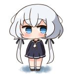 1girl bangs black_dress black_footwear black_sailor_collar blue_eyes blue_ribbon blush chibi closed_mouth commentary_request dress eyebrows_visible_through_hair full_body hair_between_eyes hair_ribbon hana_kazari konno_junko long_hair long_sleeves looking_at_viewer low_twintails necktie pleated_dress ribbon sailor_collar sailor_dress shoes short_necktie silver_hair socks solo standing twintails very_long_hair white_background white_legwear white_neckwear zombie_land_saga