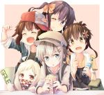 5girls ^_^ ahoge akatsuki_(kantai_collection) alternate_costume bag black_hair blouse blue_eyes bottle brown_hair casual closed_eyes closed_eyes folded_ponytail food hair_ornament hairclip hat hibiki_(kantai_collection) horns ikazuchi_(kantai_collection) inazuma_(kantai_collection) kantai_collection long_hair looking_at_viewer low_twintails multiple_girls no_hat no_headwear northern_ocean_hime one_eye_closed open_mouth popcorn red_eyes scarf shinkaisei-kan short_hair shoulder_bag side_ponytail sidelocks silver_hair smile taisho_(gumiyuki) towel towel_around_neck twintails