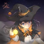 1girl aliter bangs black_cape black_hat blue_eyes bow breasts cape closed_mouth collared_shirt commentary_request eyebrows_visible_through_hair glowing hair_between_eyes halloween hand_up hat highres jack-o'-lantern long_sleeves looking_at_viewer medium_breasts multicolored multicolored_cape multicolored_clothes night night_sky orange_cape original shirt signature sky solo star_(sky) starry_sky striped striped_bow upper_body white_shirt witch_hat