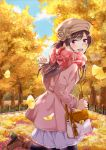 1girl :d autumn_leaves bag black_legwear blue_sky blurry blurry_background blush boots breath brown_footwear brown_hair brown_hat day ginkgo_leaf hand_up handbag hat highres jacket open_mouth original outdoors pantyhose pink_eyes pink_jacket pink_scarf plaid plaid_scarf running scarf skirt sky smile solo tree visible_air
