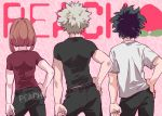 1girl 2boys bakugou_katsuki black_pants black_shirt boku_no_hero_academia brown_hair from_behind green_hair hand_on_hip light_brown_hair midoriya_izuku multiple_boys otojirou pants red_shirt shirt short_hair uraraka_ochako white_shirt