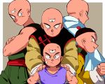 5boys age_difference bald black_eyes border cape chinese_clothes clenched_hand crossed_arms dirty dirty_clothes dirty_face dougi dragon_ball dragon_ball_(classic) dragon_ball_super dragonball_z fingernails frown goro_(szyk7834) grey_background grin hand_on_another's_shoulder hand_on_hip hat height_difference lavender_shirt light_smile long_sleeves looking_at_another looking_at_viewer looking_away looking_back looking_down male_focus multiple_boys multiple_persona outside_border profile serious shirt simple_background sleeveless sleeveless_shirt smile tenshinhan third_eye upper_body white_cape younger