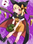 1girl :> alternate_costume blonde_hair boots bow cape commentary_request dress flandre_scarlet hair_bow hammer_(sunset_beach) hat heart jack-o'-lantern looking_at_viewer orange_dress pumpkin red_eyes short_hair side_ponytail smile solo spoken_heart star touhou wings witch_hat