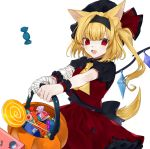 1girl :d absurdres animal_ear_fluff animal_ears ascot bandage bandaged_arm bandages bangs basket black_hairband black_hat black_shirt blonde_hair candy commentary cowboy_shot crystal daimaou_ruaeru eyebrows_visible_through_hair fangs flandre_scarlet food frilled_shirt_collar frills hairband hat hat_ribbon highres holding holding_basket lollipop long_hair looking_at_viewer mob_cap one_side_up open_mouth petticoat puffy_short_sleeves puffy_sleeves red_eyes red_ribbon red_skirt red_vest remilia_scarlet ribbon shirt short_sleeves simple_background skirt skirt_set smile solo symbol_commentary tail touhou vest white_background wings wolf_ears wolf_tail wrist_cuffs yellow_neckwear