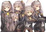 5girls :p armband bangs black_legwear black_ribbon blush character_name eyebrows_visible_through_hair fingerless_gloves girls_frontline gloves grey_hair gun h&k_ump h&k_ump45 hair_between_eyes hair_ornament hands_up heckler_&_koch highres holding holding_gun holding_weapon hood hood_down hooded_jacket hug jacket lee_seok_ho long_hair long_sleeves looking_at_viewer multiple_girls neck_ribbon one_side_up open_clothes open_jacket pantyhose ribbon scar scar_across_eye shirt sidelocks skirt sleeves_past_wrists smile submachine_gun tongue tongue_out ump45_(girls_frontline) weapon white_shirt yellow_eyes