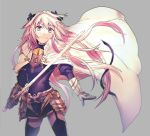 1boy androgynous astolfo_(fate) black_bow black_legwear bow cape eyebrows_visible_through_hair fate/apocrypha fate_(series) faulds floating_hair garters gauntlets grey_background hair_between_eyes hair_bow highres holding holding_sword holding_weapon long_hair looking_at_viewer male_focus miniskirt otoko_no_ko pink_eyes pink_hair simple_background skirt smile solo standing sword takasaki_(rock_rock) thigh-highs very_long_hair weapon white_cape