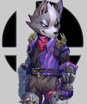 1boy animal animal_ears artist_request claws eyepatch furry gloves jacket male_focus nintendo nintendo_ead no_humans simple_background smile solo sora_(company) star_fox star_fox_64 star_fox_zero super_smash_bros. super_smash_bros._ultimate super_smash_bros_brawl tail wolf wolf_o'donnell