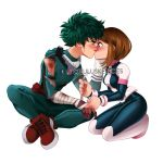1boy 1girl bandage bandaged_arm bandages bleeding blood blush bodysuit boku_no_hero_academia boots breasts brown_eyes brown_hair bruise closed_eyes cuts freckles green_hair injury kiss kneeling laura_price medium_breasts messy_hair midoriya_izuku short_hair sidelocks sitting twitter_logo twitter_username uraraka_ochako watermark white_background