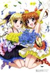 2girls :d absurdres arm_up armpits bangs bare_shoulders black_dress blonde_hair blush bouquet bow brown_hair celebration collarbone confetti dress elbow_gloves eyebrows_visible_through_hair fate_testarossa flower flower_request gloves hair_flower hair_ornament hair_ribbon hashidate_kana highres jumping long_hair looking_at_viewer lyrical_nanoha magazine_scan mahou_shoujo_lyrical_nanoha mahou_shoujo_lyrical_nanoha_detonation multiple_girls official_art open_mouth red_eyes ribbon scan short_twintails sidelocks smile takamachi_nanoha twintails violet_eyes white_background yellow_dress