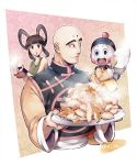 1girl 2boys :d :o bald bangs bare_shoulders black_eyes black_hair blush_stickers bowl chaozu chinese_clothes dragon_ball dragon_ball_super dragonball_z dumpling floral_background food green_shirt happy hat holding jiaozi light_smile long_sleeves multiple_boys open_mouth outside_border pink_background plate rice rice_bowl rice_spoon shirt simple_background sleeveless smile spoon steam sweatdrop teapot tenshinhan third_eye twintails twitter_username upper_body white_background wooden_spoon wristband yurin_(dragon_ball)