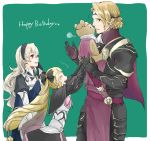 1boy 2girls armor black_armor black_bow black_gloves black_hairband blonde_hair bow brother_and_sister circlet closed_eyes dress earrings elise_(fire_emblem_if) female_my_unit_(fire_emblem_if) fire_emblem fire_emblem_if from_side gloves hair_bow hairband happy_birthday jewelry long_hair marks_(fire_emblem_if) multicolored_hair multiple_girls my_unit_(fire_emblem_if) nintendo open_mouth parted_lips pink_bow pointy_ears purple_hair red_eyes robaco short_hair siblings simple_background stuffed_animal stuffed_toy teddy_bear twintails white_hair