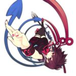 1girl aki_maki_yuu asymmetrical_wings black_dress black_legwear bow commentary_request dress fingernails full_body highres holding holding_weapon houjuu_nue long_fingernails looking_at_viewer medium_hair nail_polish pink_nails polearm purple_hair red_bow red_eyes red_footwear shoe_bow shoes short_dress short_sleeves simple_background snake solo thigh-highs thigh_strap touhou trident upside-down weapon white_background wings wrist_cuffs