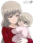 2girls :o artist_name baby bangs brown_eyes bukkuri child_carry closed_mouth commentary dated eyebrows_visible_through_hair girls_und_panzer half-closed_eyes light_brown_hair long_hair long_sleeves looking_at_another looking_at_viewer looking_back mother_and_daughter multiple_girls onesie parted_lips red_shirt shimada_arisu shimada_chiyo shirt short_hair signature simple_background smile very_short_hair white_background younger