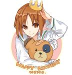 1girl adjusting_headwear arm_up bandage bandaid bangs blouse brown_eyes brown_hair character_name circle closed_mouth commentary crown english eyebrows_visible_through_hair girls_und_panzer happy_birthday holding holding_stuffed_animal long_sleeves looking_at_viewer mini_crown nishizumi_miho ooarai_school_uniform school_uniform serafuku short_hair smile solo stuffed_animal stuffed_toy upper_body white_blouse yuuyu_(777)