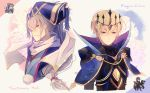 2boys armor blonde_hair chibi crown european_clothes fire_emblem fire_emblem_heroes fire_emblem_if hat highres japanese_clothes kariya_(mizore) leon_(fire_emblem_if) looking_at_viewer multiple_boys nintendo ponytail portrait purple_hair scarf takumi_(fire_emblem_if) white_hair