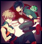 2boys bakugou_katsuki black_pants black_shirt boku_no_hero_academia brown_hair bulbasaur creatures_(company) cyndaquil game_freak gen_1_pokemon gen_2_pokemon green_eyes green_hair green_hoodie hood hood_down messy_hair midoriya_izuku multiple_boys nintendo otojirou pants poke_ball_symbol pokemon red_eyes red_footwear shirt spiky_hair