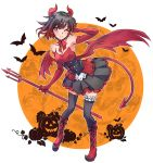 1girl bat black_hair gradient_hair grey_eyes halloween highres horns iesupa multicolored_hair polearm redhead ruby_rose rwby short_hair solo thigh-highs trident two-tone_hair weapon wings