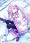 1girl ainu_clothes animal arm_up bangs bear bk201 black_legwear boots bow commentary_request eyebrows_visible_through_hair fate/grand_order fate_(series) fingerless_gloves fur_trim gloves hair_between_eyes hair_bow hairband half-closed_eye hand_up illyasviel_von_einzbern leg_warmers light_brown_hair long_hair long_sleeves lying on_side one_eye_closed pantyhose parted_bangs parted_lips pink_hairband purple_bow purple_footwear purple_gloves red_eyes shirou_(fate/grand_order) sitonai snow snowing very_long_hair
