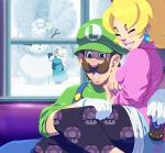 1boy 2girls black_legwear blonde_hair brown_hair chiko_(mario) child commentary commission controller couple crown earrings english_commentary family grin happy hat hetero high_ponytail if_they_mated jewelry lipstick luigi makeup mario_(series) multiple_girls mustach nintendo pink_lips princess_peach print_legwear remote_control rosetta_(mario) sitting sitting_on_lap sitting_on_person smile snow snowman super_mario_galaxy tovio_rogers unmoving_pattern what_if window younger