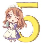 1girl ;) apron asahina_mikuru brown_eyes chibi commentary_request countdown eyebrows_visible_through_hair full_body long_hair maid maid_apron one_eye_closed open_mouth simple_background smile solo suzumiya_haruhi_no_yuuutsu taiki_(6240taiki) white_background