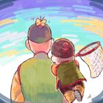 2boys aqua_background blue_background bug butterfly butterfly_net butterfly_on_head chaozu chinese_clothes dragon_ball facing_away floating goro_(szyk7834) hand_net hat insect long_sleeves male_focus multicolored multicolored_background multiple_boys orange_background tenshinhan upper_body walking white_background
