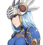 1girl aqua_eyes armor bangs blue_hair breasts closed_mouth eyebrows_visible_through_hair feathers gem headpiece lenneth_valkyrie long_hair looking_away medium_breasts pauldrons sblack simple_background solo straight_hair upper_body valkyrie_profile white_background